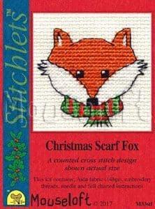 Mouseloft Christmas Scarf Fox Card Christmas Stitchlets cross stitch kit